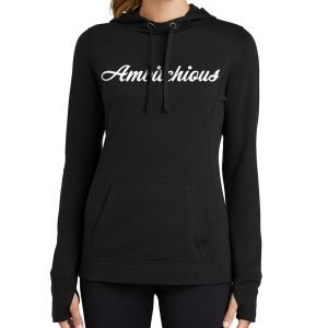 Black Hoodie w/ White Writing and Fingerholes