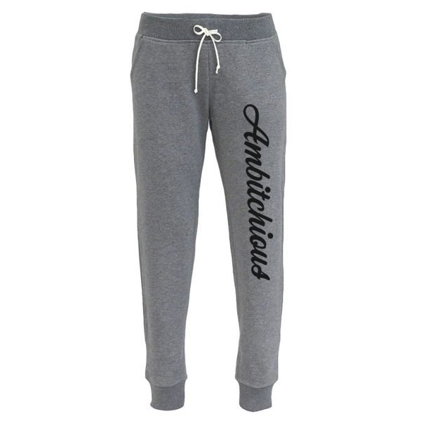 Heather Grey Women's Joggers with Black Writing 1