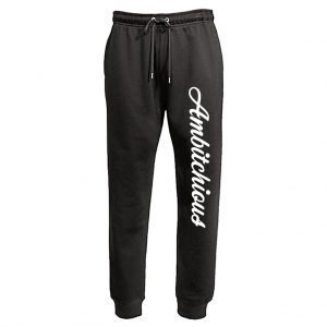 Black Unisex Fit Joggers with White Writing
