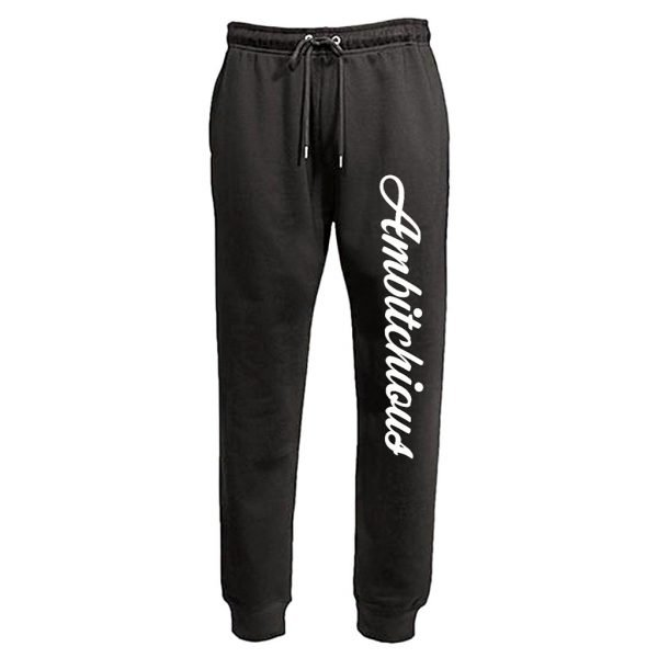 Black Unisex Fit Joggers with White Writing 1